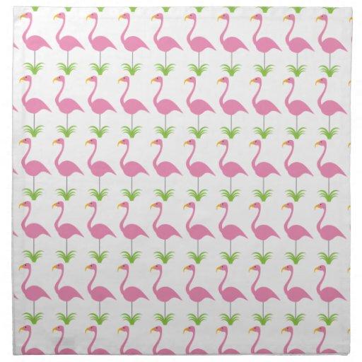 Fun Pink Lawn Flamingos Retro Cute and Tropical Cloth Napkin