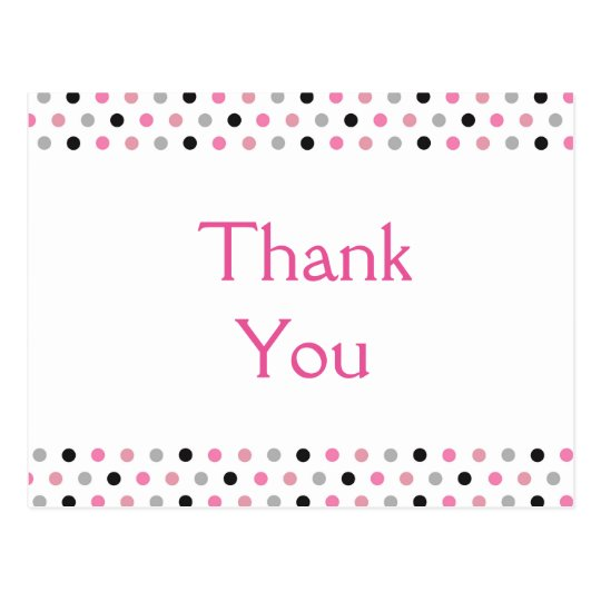 Fun Pink Polka Dots Thank You Postcard