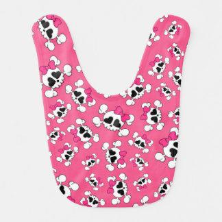 Fun pink skulls and bows pattern bib