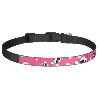 Fun pink skulls and bows pattern pet collar