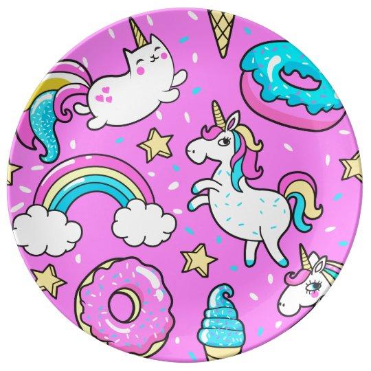 Fun Pink sparkling magical rainbow unicorn kitty Plate