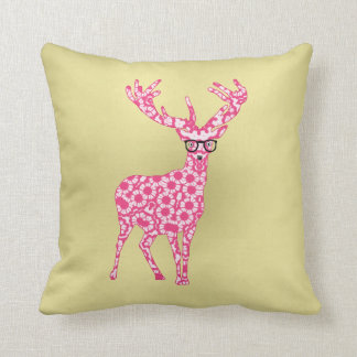 Fun Pink Stag Deer Trendy Girly Design Cushion