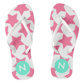 Fun Pink Stars Pattern Monogrammed Flip flops