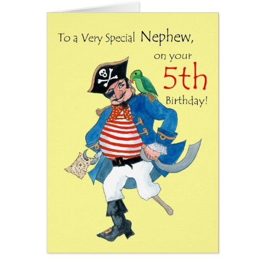 Fun Pirate 5th Birthday Card for Nephew on