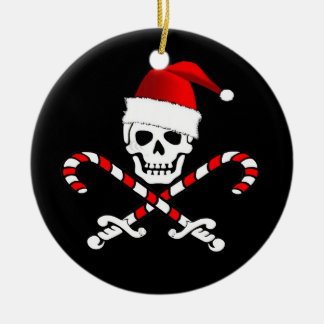 Fun Pirate Flag Santa Christmas Ornament