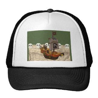 Fun Pirate Ship, Map & Skulls Name Personalization Trucker Hat