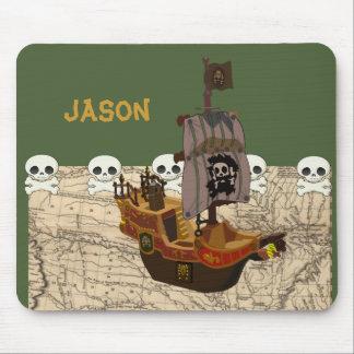 Fun Pirate Ship, Map & Skulls Name Personalization Mouse Pad
