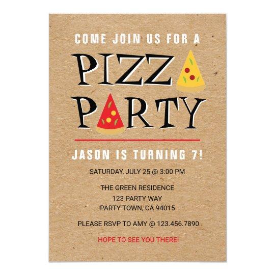 Fun Pizza Party Birthday Celebration invitation