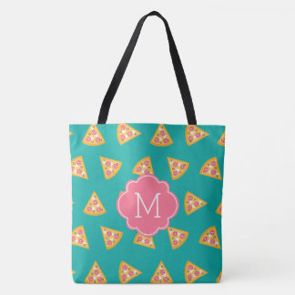Fun Pizza Slices Pattern Monogram Tote Bag