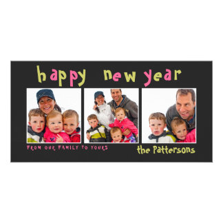 Fun & Playful Happy New Year 3 Photo Card