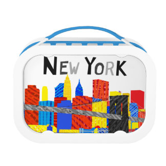 Fun, Playful Illustration of Manhattan Skyline Lunch Box