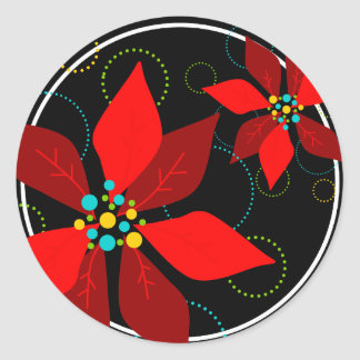 Fun Poinsettia Retro Holiday Sticker