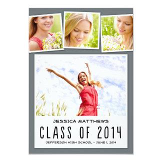 Fun Polaroids Graduation Invitation - Gray Personalized Invitation