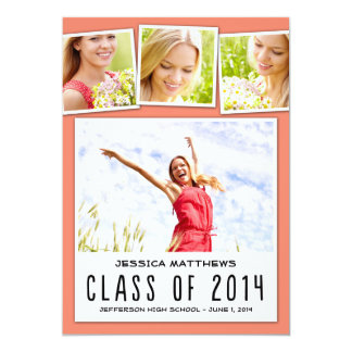 "Fun Polaroids Graduation Invitation - Peach 5"" X 7"" Invitation Card"