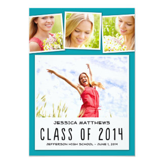 "Fun Polaroids Graduation Invitation - Turquoise 5"" X 7"" Invitation Card"