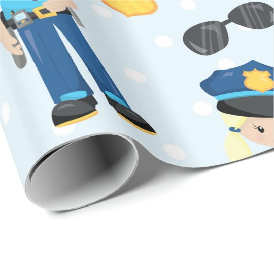 Fun policeman pattern party wrapping paper