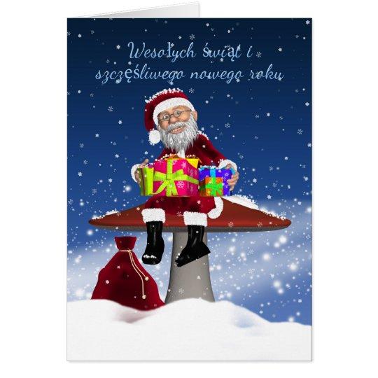 Fun Polish Christmas Card With Santa
