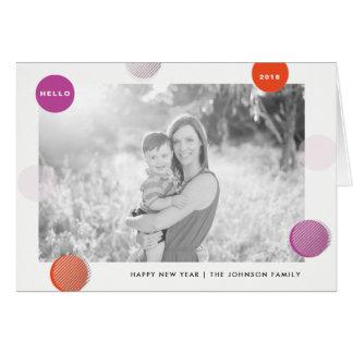 Fun Polka Dot New Year Holiday Card - Red Pink