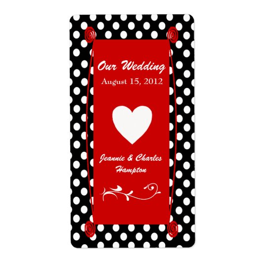 Fun Polka Dot Wedding Mini Wine Label
