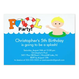 Fun Pool Party Birthday Invitation Blonde Boy