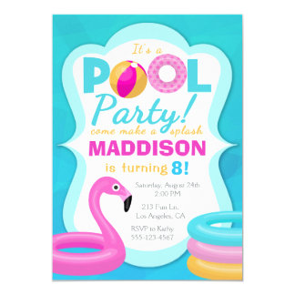 Fun Pool Party Inflatable Birthday Invitation