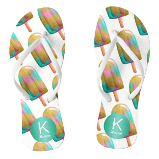 Fun Popsicle Pattern with Your Monogram Flip Flops