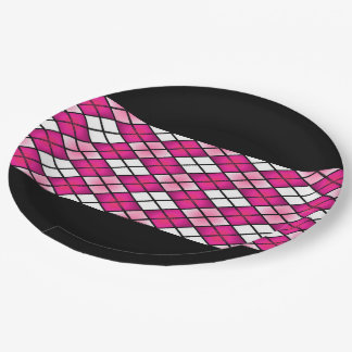 """Fun Prints"" Hot Pink Argyle 9 Inch Paper Plate"