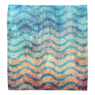 Fun Psychedelic Blue and Gold Wave Pattern Bandana