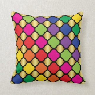 Fun Psychedelic Quatrefoil Print Pattern Cushion