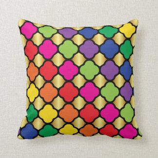 Fun Psychedelic Quatrefoil Print Pattern Throw Pillows