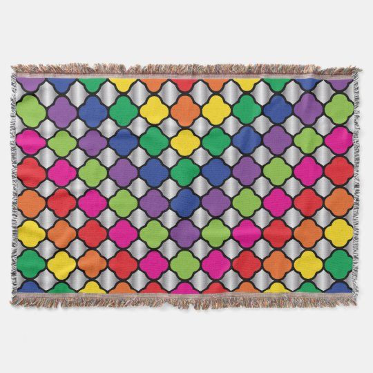 Fun Psychedelic Quatrefoil Print Pattern Throw Blanket
