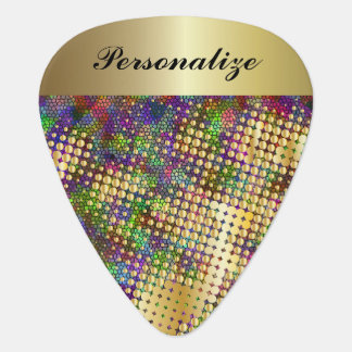 Fun Psychedelic with a Splatter of Gold Dots Guitar Pick