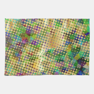 Fun Psychedelic with a Splatter of Gold Dots Tea Towel