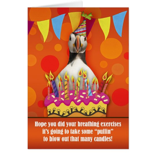 Fun Puffin Birthday Card With Birthday Cake And