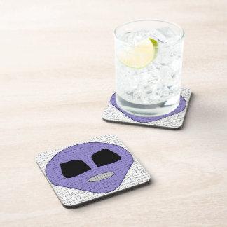 Fun Purple Alien Head Design Coaster Set