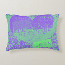 Fun Purple and Mint Retro Heart Design Decorative Cushion