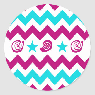 Fun Purple and Teal Chevron Pattern Round Sticker
