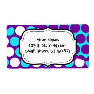 Fun Purple and Teal Polka Dot Wave Pattern Shipping Label