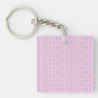 Fun Purple and White Circle Pattern Double-Sided Square Acrylic Key Ring