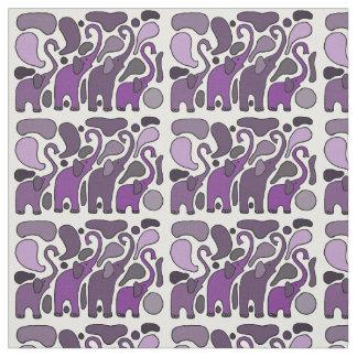 Fun Purple Elephant Abstract Art Fabric