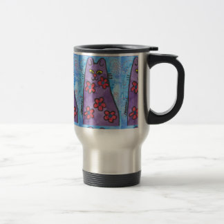 Fun Purple Flowered Cat Travel Mug