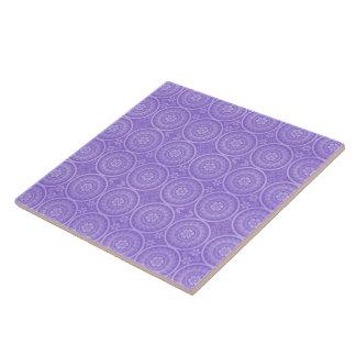 Fun Purple Geometric Floral Ceramic Tile