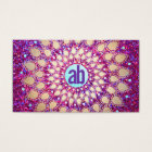 Fun Purple Glitter Festive Monogram Business Card