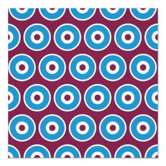 Fun Purple Teal Blue Concentric Circles Pattern 13 Cm X 13 Cm Square Invitation Card