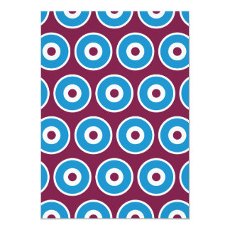 Fun Purple Teal Blue Concentric Circles Pattern Personalized Announcements