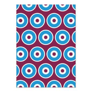 Fun Purple Teal Blue Concentric Circles Pattern 5x7 Paper Invitation Card