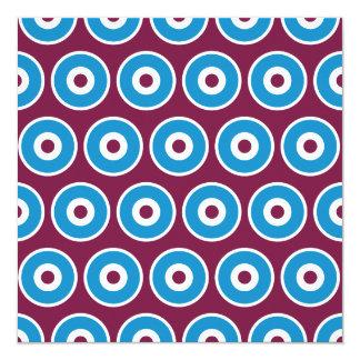 Fun Purple Teal Blue Concentric Circles Pattern 5.25x5.25 Square Paper Invitation Card