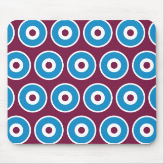 Fun Purple Teal Blue Concentric Circles Pattern Mouse Pad