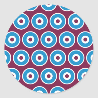 Fun Purple Teal Blue Concentric Circles Pattern Round Sticker
