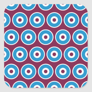 Fun Purple Teal Blue Concentric Circles Pattern Square Sticker